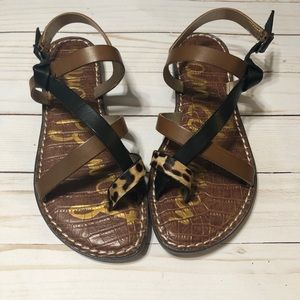 SAM EDELMAN leopard Gladis criss cross sandals